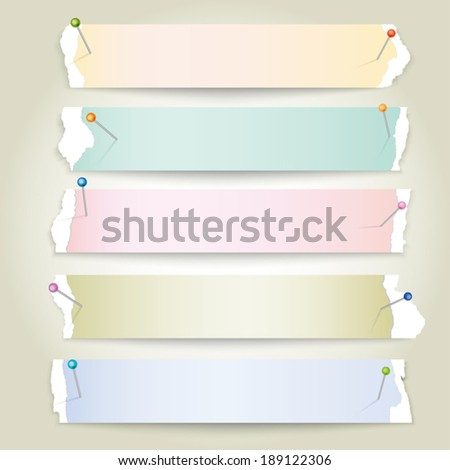 Vector torn paper stripes with pins - stock vector