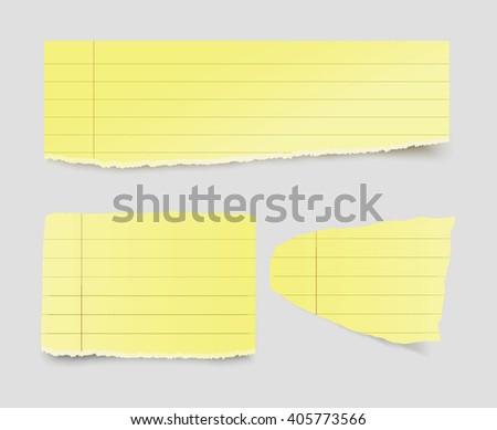 Vector torn yellow papers. - stock vector
