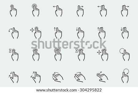 Vector touch screen gestures icons in thin line style - stock vector