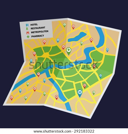 Vector tourist city map for vacation, journey, trip