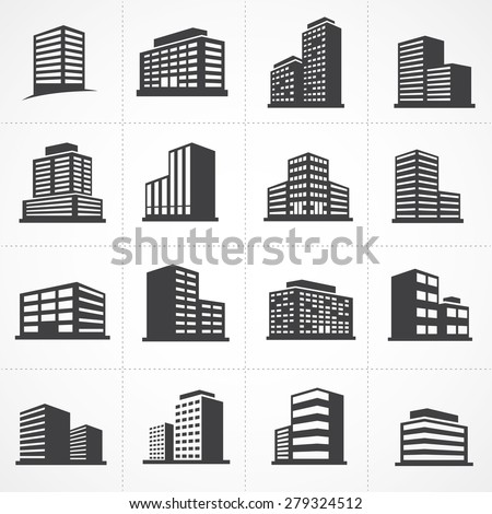 Vector town and building icon set - stock vector