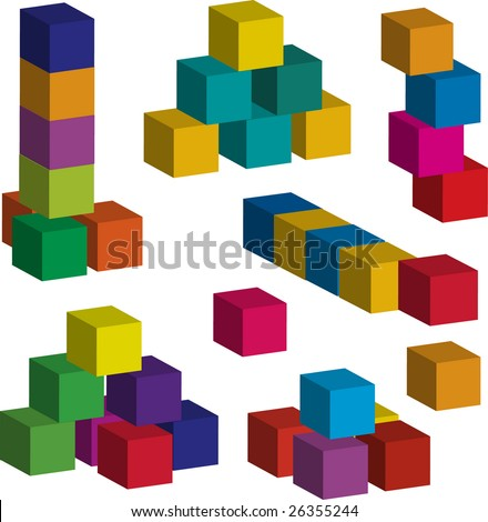 Vector toy blocks of various colors - stock vector