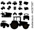 vector tractor silhouette set - stock vector