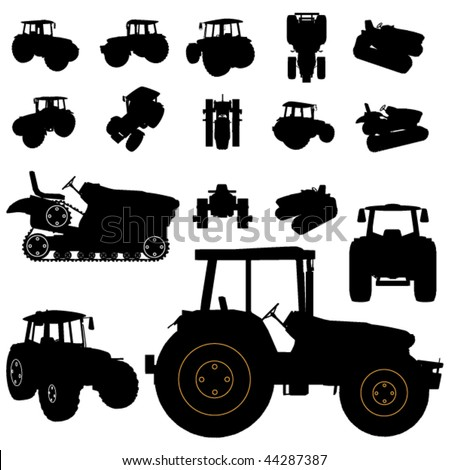 vector tractor silhouette set