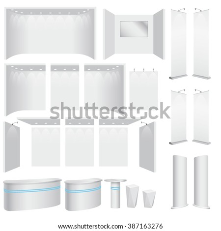 Vector trade booth plasterboard mock up parts and promotion panels - stock vector