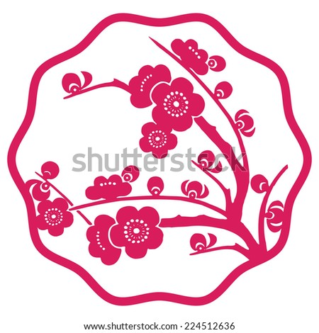 Vector Traditional Chinese Paper Cutting  / Cherry Blossom - stock vector