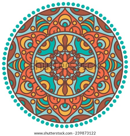 Vector traditional indian mandala. Orient tribal circle sign illustration.Colorful ethnic design element. - stock vector