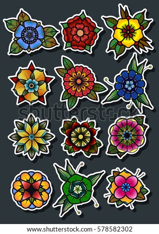 Vector Traditional Tattoo Flowers Set Old Stock Vector 578582284 Shutterstock