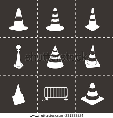 Vector traffic cone icons set on black background - stock vector
