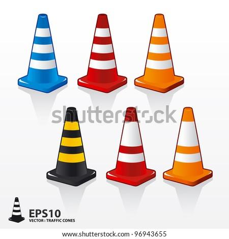 vector traffic cones - stock vector