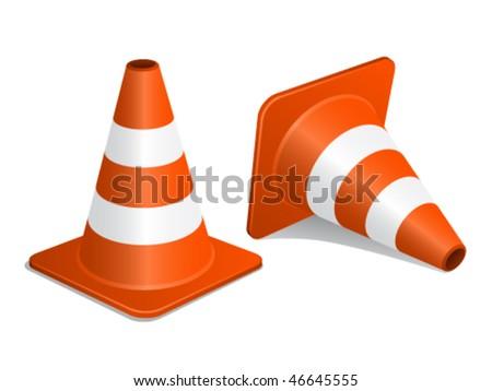 vector traffic cones with shadow - stock vector
