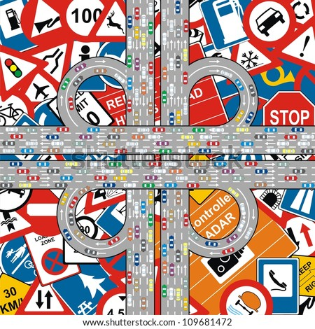 Vector - Traffic Jam on Highway at Traffic Signs Background - stock vector