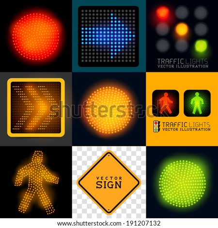 Vector Traffic light  Collection. Set of various traffic signs and symbols, vector illustration. - stock vector