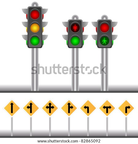 vector traffic lights and traffic signs - stock vector