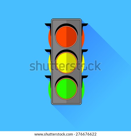 Vector Traffic Lights  Icon Isolated on Blue Background.