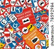 VECTOR - Traffic Signs Background - stock photo