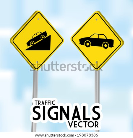 Vector Traffic Signs Isolated On Blue Background