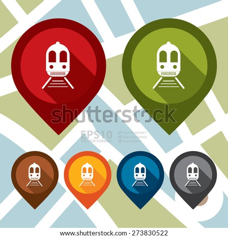 Vector : Train, Subway Station or Railway Station Map Pointer Icon - stock vector