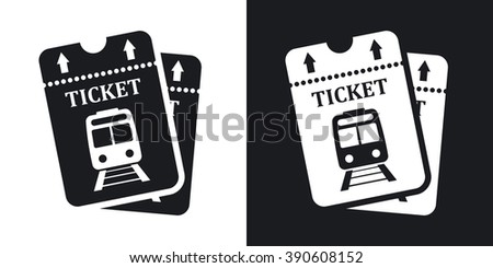 Vector train tickets icon. Two-tone version on black and white background - stock vector