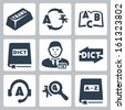 Vector translation and dictionary icons set - stock vector