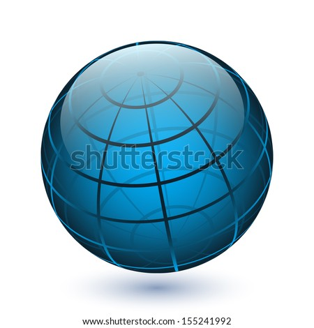 Vector translucent glossy globe icon - stock vector