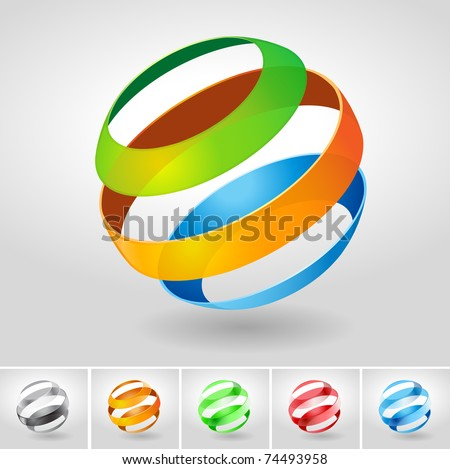 Vector transparency sphere symbol set. - stock vector