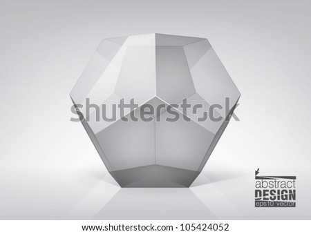 Vector transparent  dodecahedron  for your graphic design, you can change colors for the background - stock vector