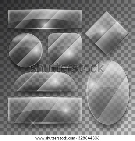 Vector transparent glass plates set. Shiny frame glossy, empty shape illustration - stock vector