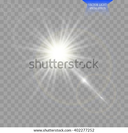 Vector transparent sunlight special lens flare light effect. Sun flash with rays and spotlight - stock vector