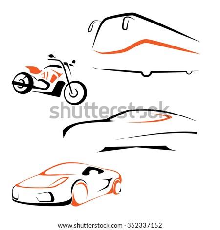 Vector transport icon set. Bus, bike, car, sportscar symbol - stock vector