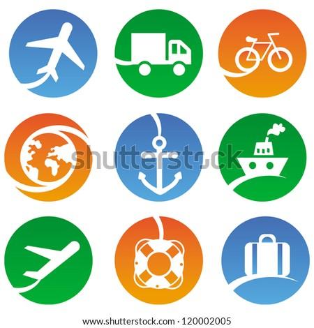 Vector Transport Icons Set Signs Symbols Stock Vector 120002005