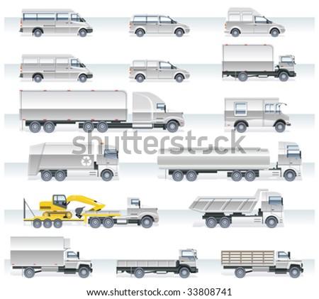 Vector transportation icon set. Trucks and vans - stock vector