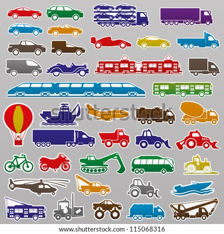 Vector. 40 transportation icons.