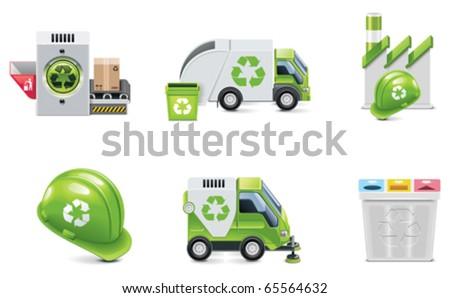 Vector trash recycling icon set - stock vector