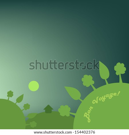 Vector Travel and Holiday Background Design in Green and Blue with Forest and Hills and Trees   - stock vector