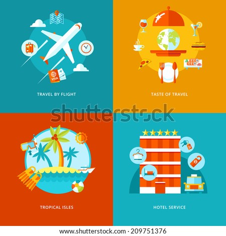 Vector travel and tourism icons set for web design and mobile apps. Illustration for travel by flight, tropical isles, hotel services and taste of traveling - stock vector
