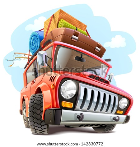 Vector travel car - stock vector