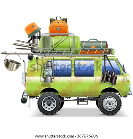 Vector Travel Car with Camping Accessories - stock vector