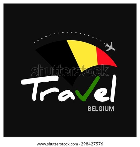 Vector travel company logo design - Country travel agency logo - Country Flag Travel and Tourism concept t shirt graphics - Travel Belgium Symbol - vector illustration - stock vector
