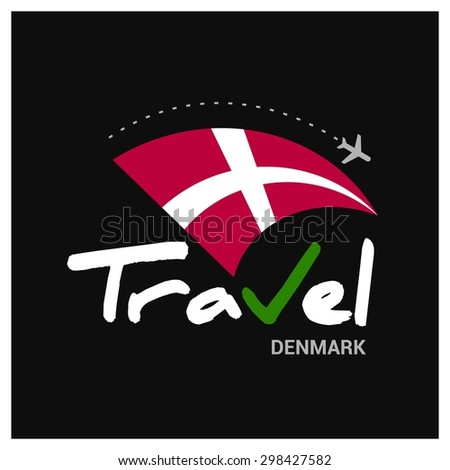 Vector travel company logo design - Country travel agency logo - Country Flag Travel and Tourism concept t shirt graphics - Travel Denmark Symbol - vector illustration - stock vector