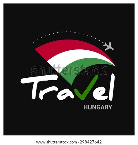 Vector travel company logo design - Country travel agency logo - Country Flag Travel and Tourism concept t shirt graphics - Travel Hungary Symbol - vector illustration - stock vector
