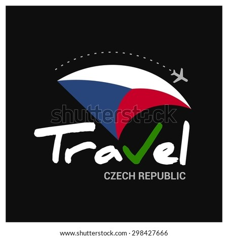 Vector travel company logo design - Country travel agency logo - Country Flag Travel and Tourism concept t shirt graphics - Travel Czech Republic Symbol - vector illustration - stock vector