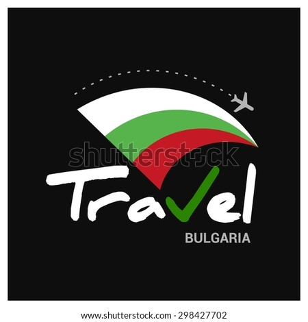 Vector travel company logo design - Country travel agency logo - Country Flag Travel and Tourism concept t shirt graphics - Travel Bulgaria Symbol - vector illustration - stock vector