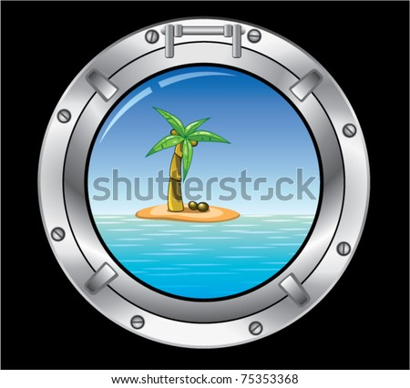 vector travel concept of metal porthole and palm tree on the island - stock vector
