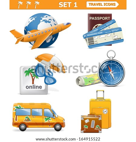 Vector travel icons set 1 - stock vector
