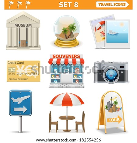 Vector travel icons set 8 - stock vector