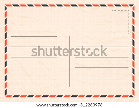 Vector travel postcard with paper texture - stock vector