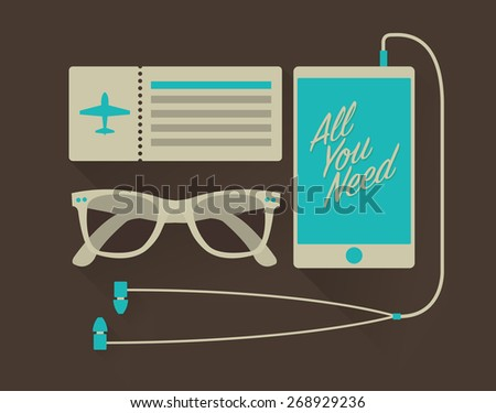 Vector travel set of mobile phone with headphones, airplane ticket, and sunglasses in hipster style  - stock vector