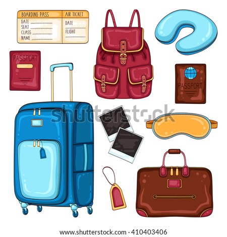 Vector traveler's set of passenger luggage, accessories and equipment. Travel stuff illustration - stock vector