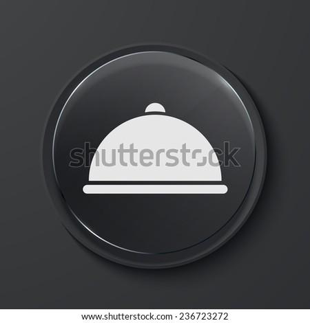 Vector tray modern black glass circle icon. Eps10 - stock vector
